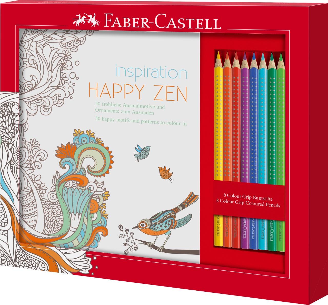 Set relaxační omalovánky+pastelky Faber-Castell HAPPY ZEN: sada základních barev